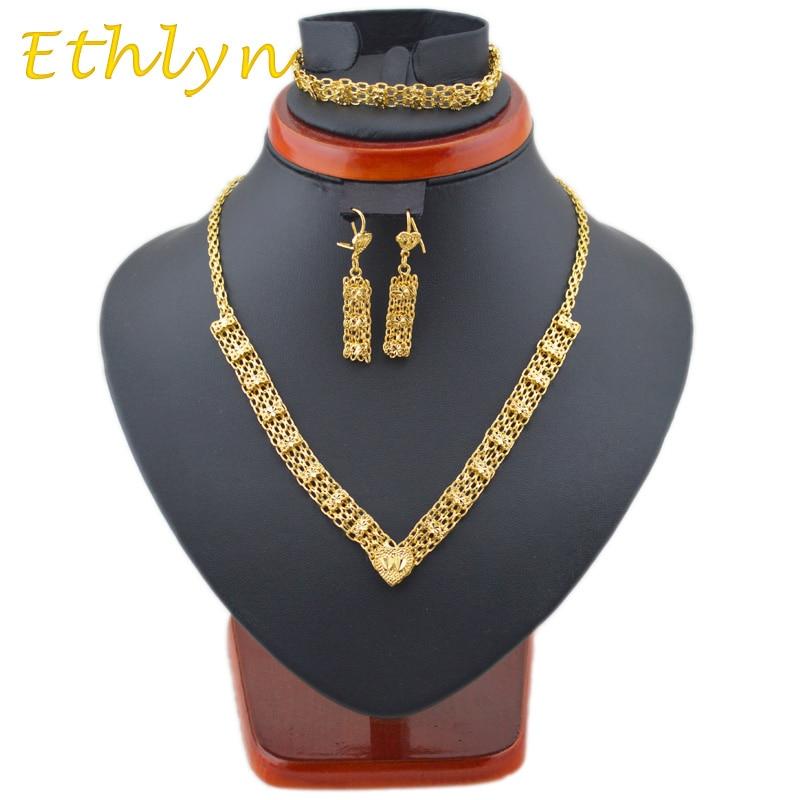 Ethlyn, encantadores collares y pendientes de diseño etíope y conjuntos de pulseras, joyería de Color dorado, tres uds, conjuntos de boda S10