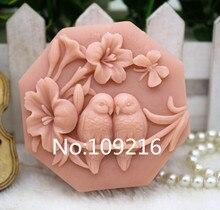 Produit! Nouveau produit Moule à savon fait main en Silicone   Fleurs et oiseaux (ZX323) 1 pièce de qualité alimentaire, moule à savon artisanal, bricolage