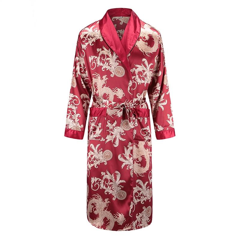Nueva bata de manga larga, ropa de dormir de satén, estampado de dragón Phoenix, Kimono, bata, ropa de hogar informal para hombres, pijamas sueltos, L-XXL