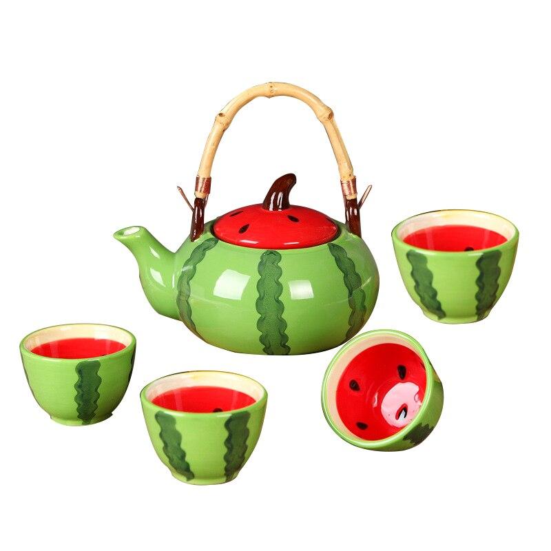 De cerámica Set de Tetera taza de té de dibujos animados cubiertos Vajilla creativo Flor de té de frutas forma tetera bandejas encantadora sandía tazas 5 unids/set