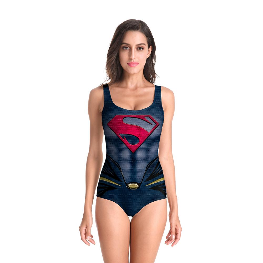 Supergirl tankini trajes de baño para mujeres/bikini sexy para chicas traje de baño 3D printin Supergirl monos Cosplay disfraces