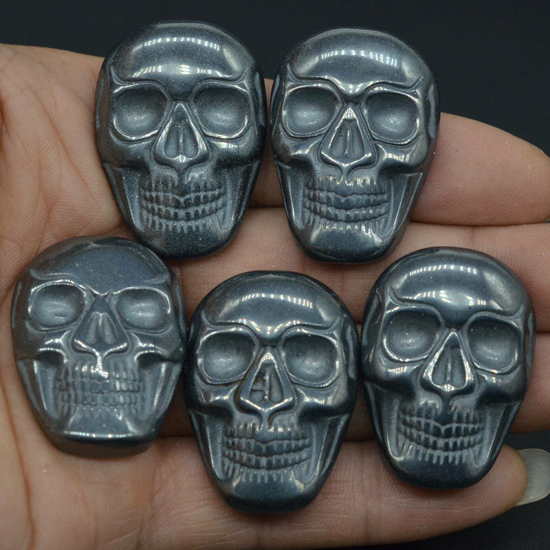 "1.37"" Natural Gemstone Black Hematite Carved Stone Skull Cab Cabochon Figurine Statue 1 Piece"