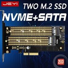 JEYI SK6 M.2 NVMe SSD NGFF a PCIE X4 adaptador M B clave dual tarjeta de interfaz de apoyo PCI Express 3,0x4 2230-22110 tamaño m.2