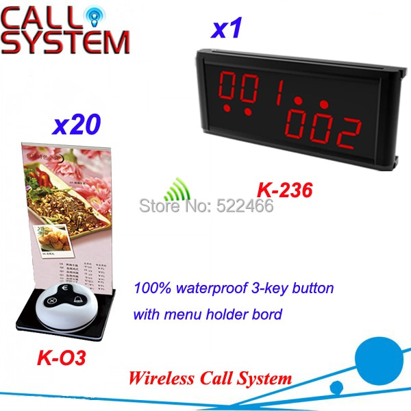 Sistema de campana de llamada del cliente para Cafetería Restaurante con 20 botones de mesa y 1 pantalla LED, envío DHL gratis