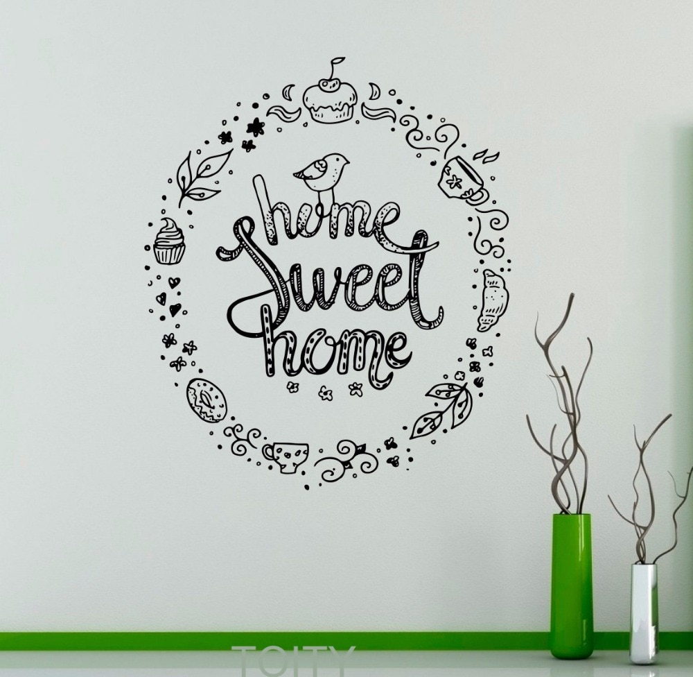 Hogar, dulce hogar pegatina de pared para el hogar citar dichos vinilo pegatina vivero citar Interior lindo decoración Mural para el hogar