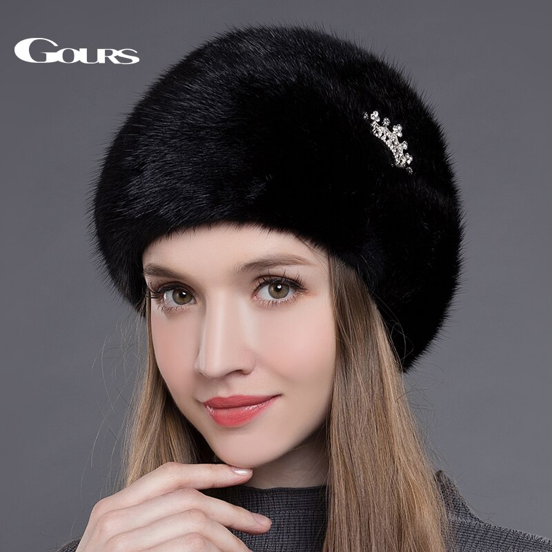 Gours Women's Fur Hats Whole Real Mink Fur Hats with Crown Luxury Fashion Russian Winter Thick Warm High Quality Cap New Arrival