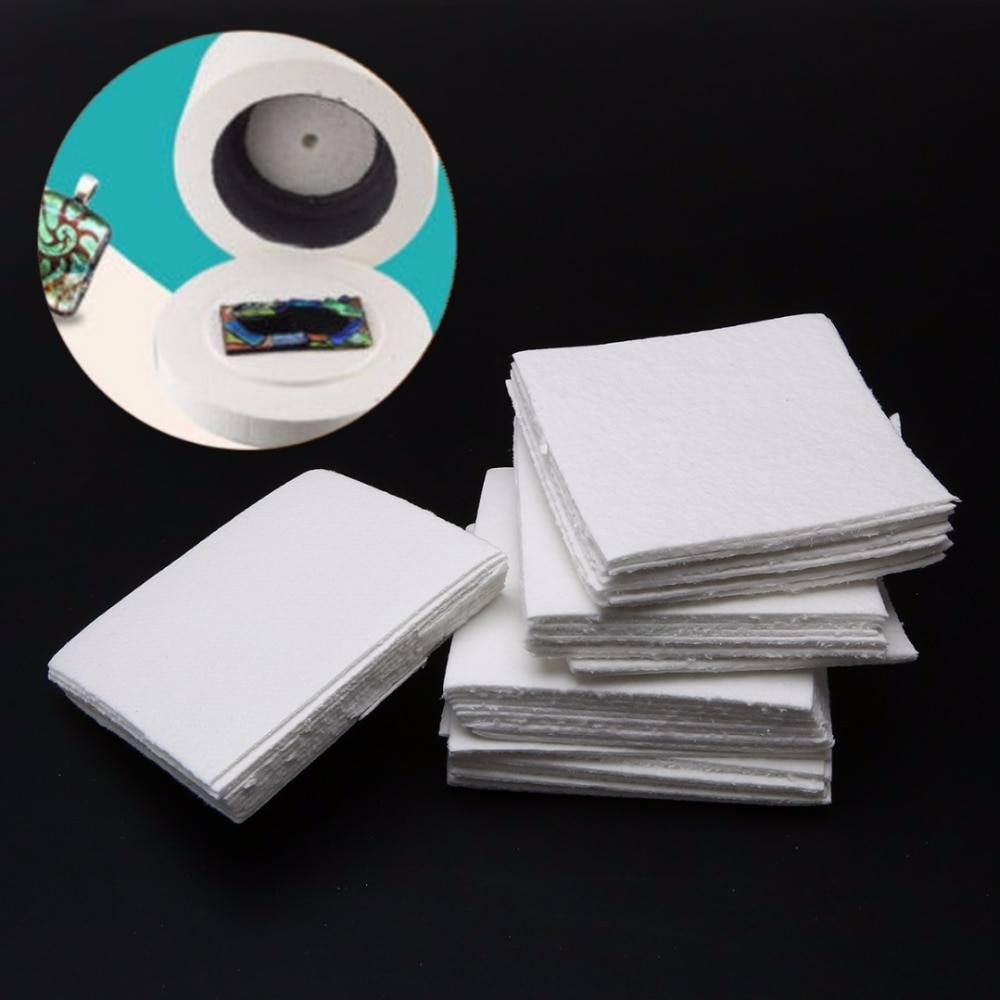 50 Sheets Ceramic Fiber Kiln Paper Square Microwave Kiln Glass Fusing Paper 80x80x1mm