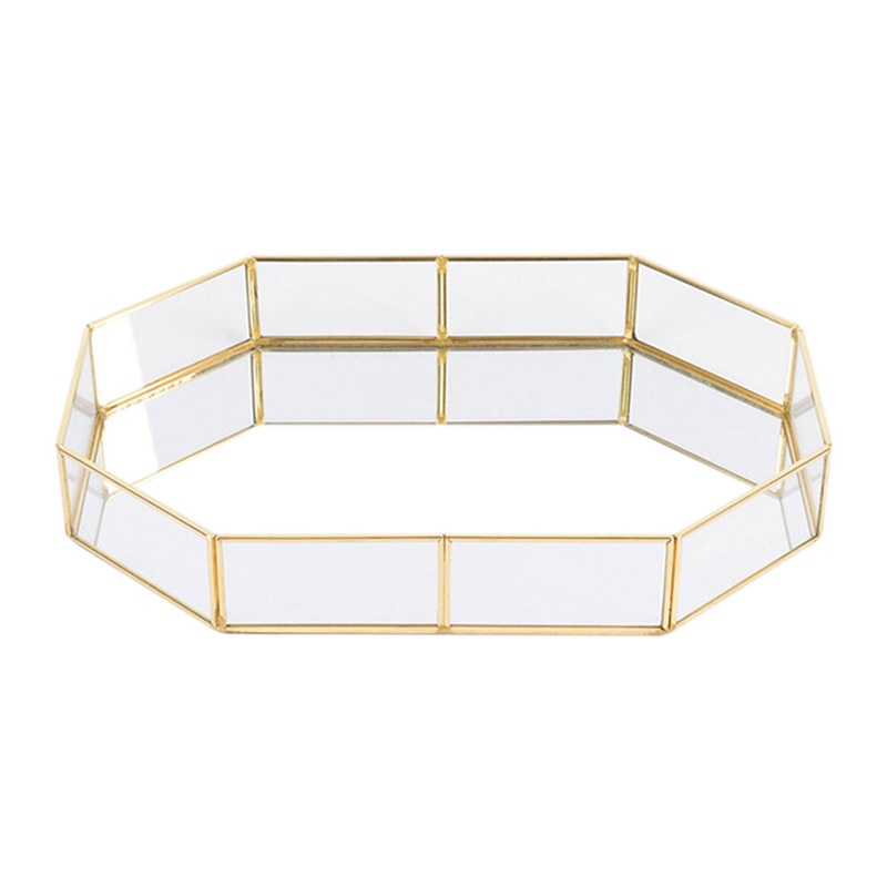 LUDA Nordic Style Glass Copper Geometry Storage Baskets Box Simplicity Style Home Organizer For Jewe