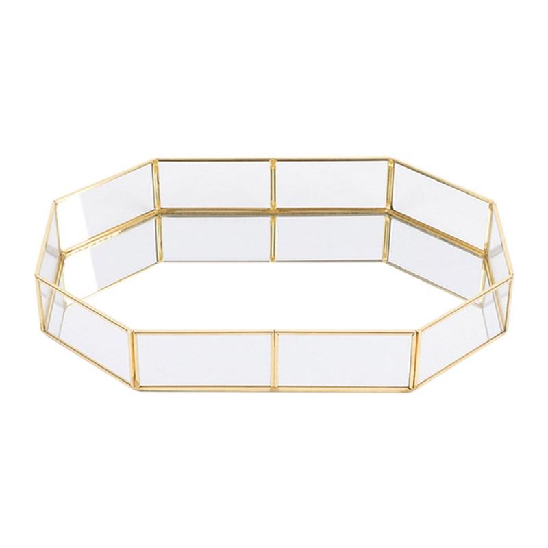 LUDA Nordic Stil Glas Kupfer Geometrie Lagerung Körbe Box Einfachheit Stil Startseite Organizer Für Schmuck Halskette Dessert Platte