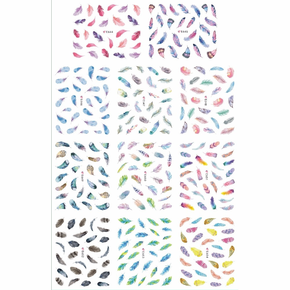 11 PACOTES/LOTE SIMULAÇÃO de VOLTA ADESIVO DA ARTE DO PREGO 3D ETIQUETA DO PREGO PENA de PÁSSARO PAVÃO PAPAGAIO PHEONIX E644-654