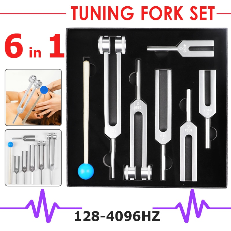 Tenedores de afinación neurológica médica 6 en 1, de aleación de aluminio, para curación de sonido, 128Hz, 256Hz, 1024Hz, 2048Hz, 4096Hz