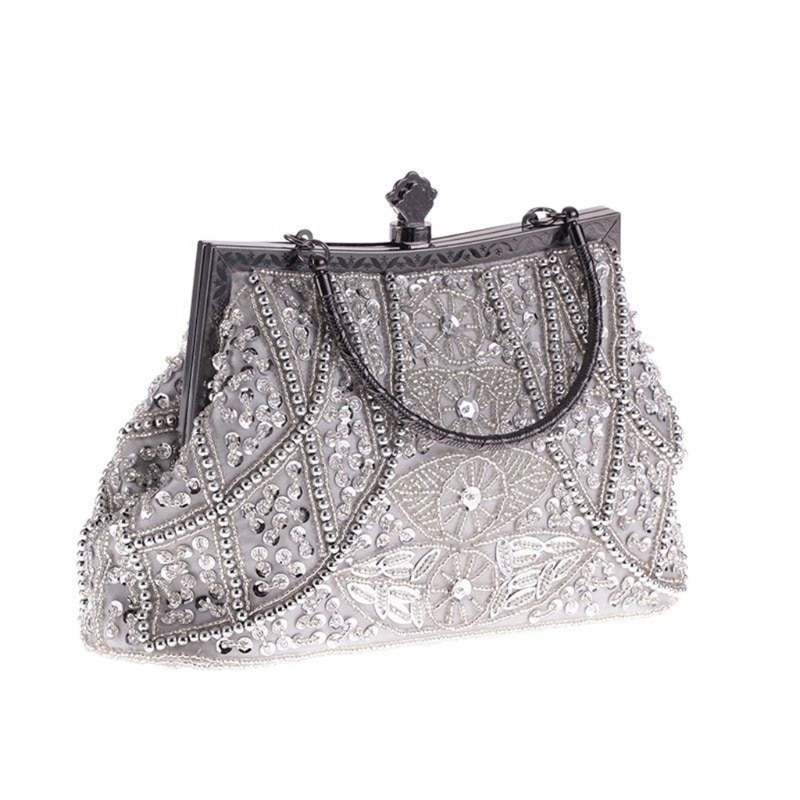 Las mujeres cuenta vintage bolso de noche con lentejuelas boda fiesta embrague bolso