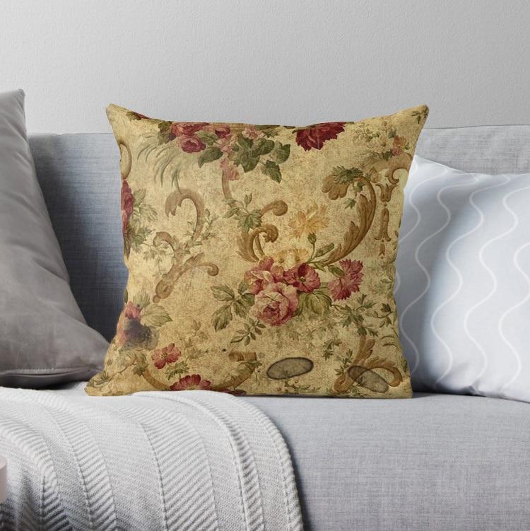 Vintage tapiz floral elegante almohada victoriana fundas patrón nórdico funda de cojín funda de almohada impresión cuadrada