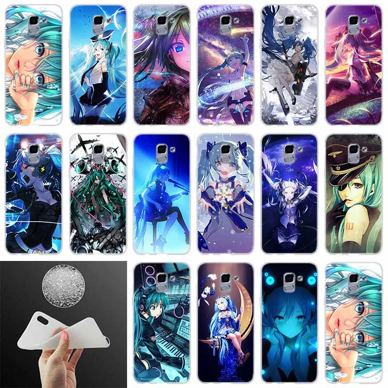 Suave cubierta del teléfono Japón anime Hatsune Miku chica de belleza para Samsung Galaxy J6 J4 J8 J7 2018 más J3 J5 J7 primer Pro 2017 caso 2016