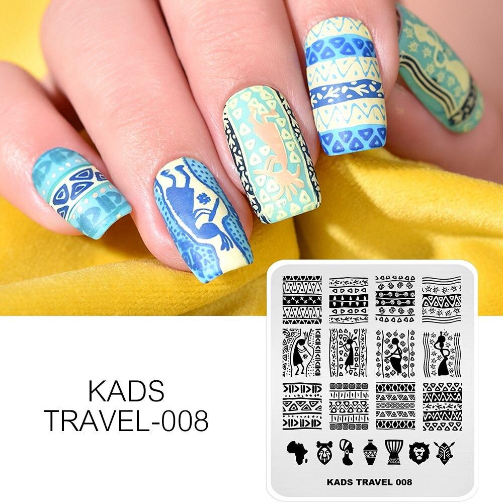 KADS Nail Art Stamping PlateTravel Series 008 estampador de uñas imagen de viaje plantilla para impresión para uñas belleza HERRAMIENTA DE MANICURA