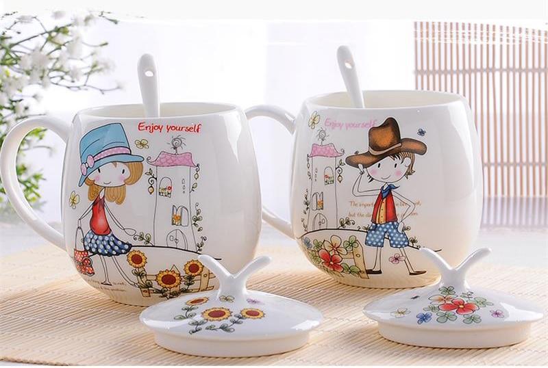 410ML, 2pcs/set, bone china tumbler, gifts for coffee lovers, wedding present, breakfast milk cup, tumbler tea original mugs