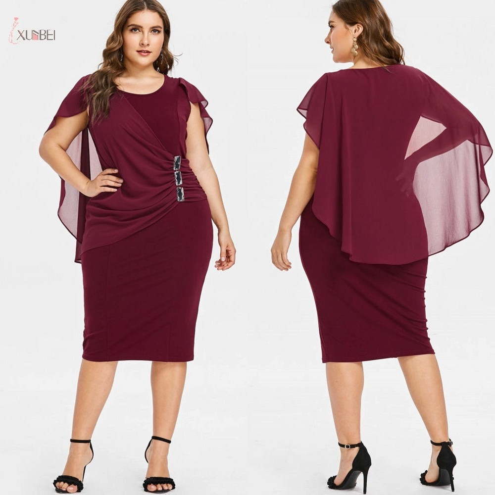 Mother Of The Bride Dresses Plus Size Chiffon 2019 Scoop Neck Short Sleeve Wedding Party Gown