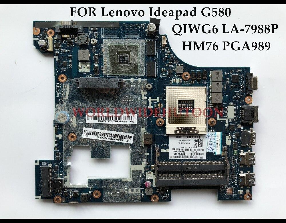 Alta calidad QIWG6 LA-7988P para Lenovo Ideapad G580 placa base de computadora portátil SLJ8E HM76 PGA989 DDR3 1 GB 100% probado completamente