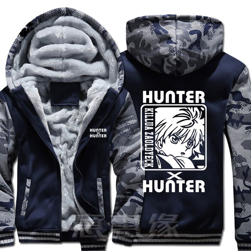 Nuevo abrigo de invierno cálido hunter x Sudadera con capucha de cazador Anime killua zoldyck Abrigo con capucha Cremallera gruesa hombres casual cardigan chaqueta sudadera