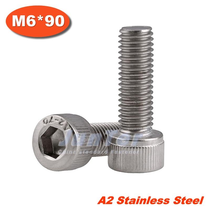 20pcs/lot DIN912 M6*90 Stainless Steel A2 Hex Socket Head Cap Screw