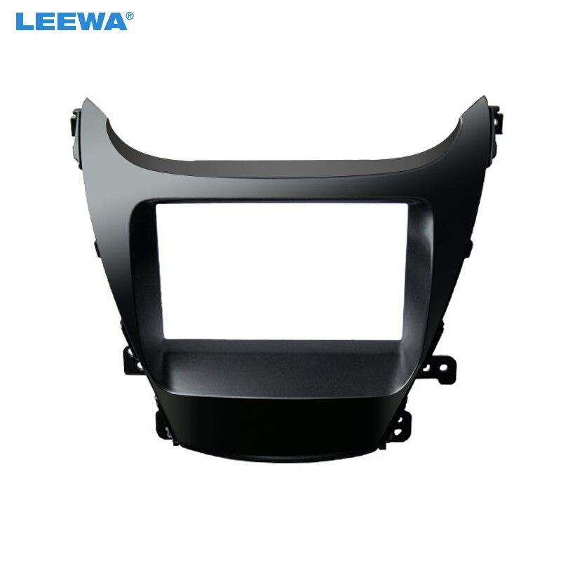 LEEWA Car 2Din Marco de salpicadero para Radio Kit de instalación para 2014 HYUNDAI Elantra (LHD) equipo de montaje de marco de Panel de salpicadero estéreo de reacondicionamiento