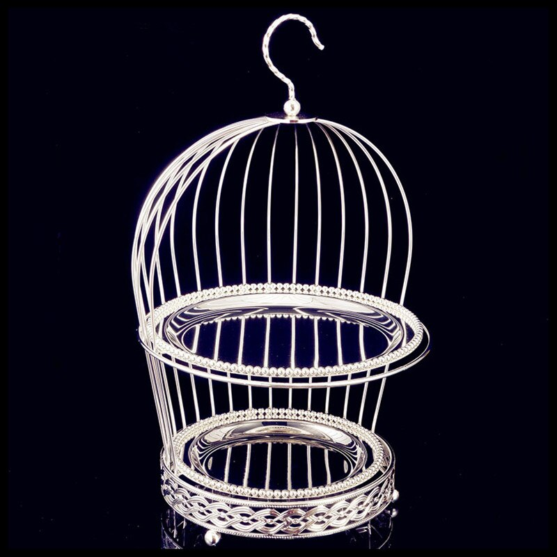 Gold Silver Creative Bird Cage Double Dessert Stand Classic Retro Two Layer Dessert Stand West Point Cake Display Stand Cake Pan