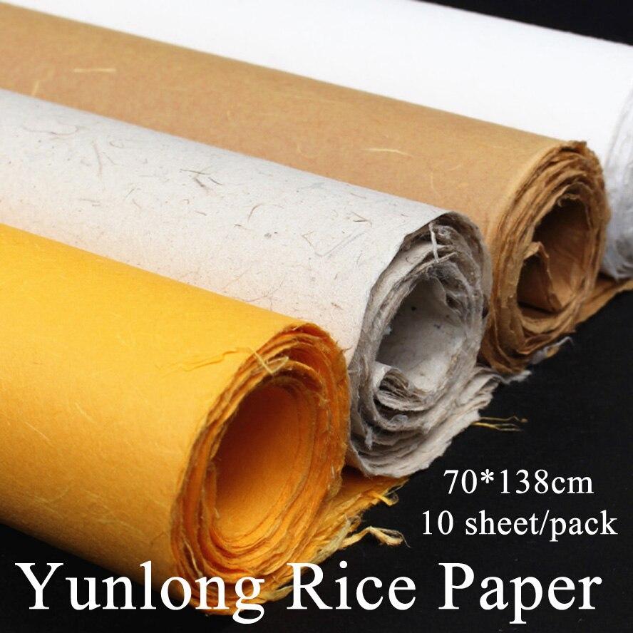Pintura china fibra de papel de arroz Yunlong artista pintura caligrafía Xuan papel hecho a mano papel de embalaje