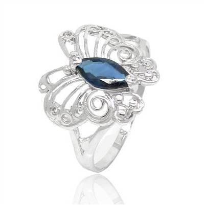 Anillos Qi xuan_mariposa de piedra azul oscuro Rings_Fashion Rings_S925 plata sólida moda Rings_Manufacturer ventas directas