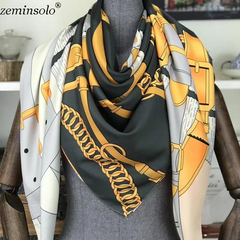 Luxury Brand Silk Scarf Women Geometric Chain Printed Square Scarves Shawls Large Foulard Femme Twill Spring Bandana