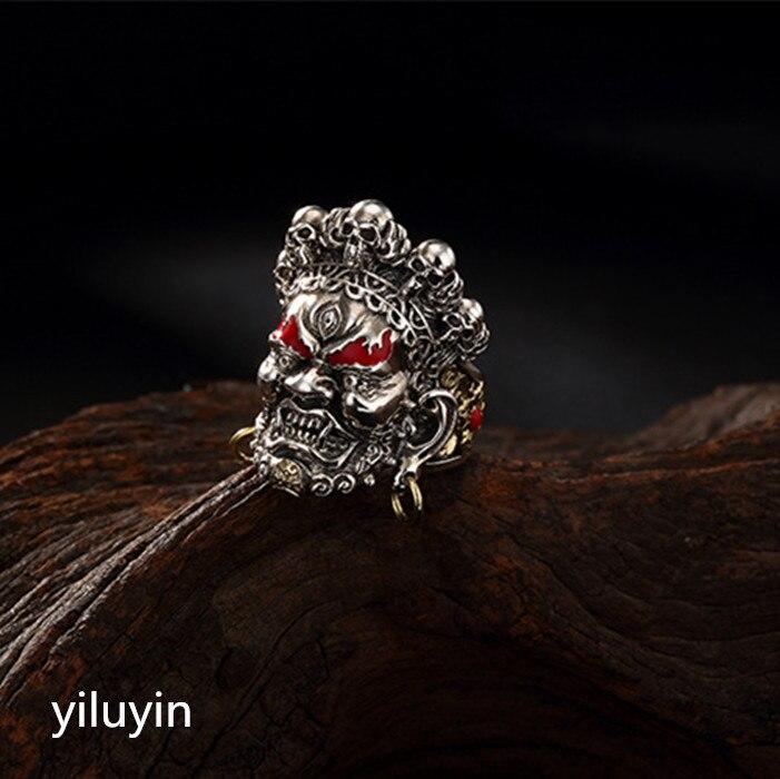 KJJEAXCMY boutique jewelryar S925 Sterling Silver retro Tailandês prata Cloisonne Preto Deus da riqueza