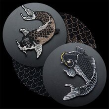 Zwarte Karper Vis Geborduurde Patches Voor Kleding Ijzer Op Kledingstuk Applique Diy Accessoire Party Decor Dier Grote Vis Patch