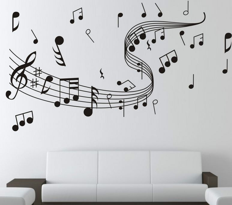 Notas musicales pegatina de pared danza en el viento música notación pegatinas de pared decoración Musical para el hogar tienda Aula de moda DIY 7zcx261