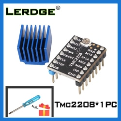 Драйвер шагового двигателя LERDGE TMC2208, детали 3D-принтера, Stepstick, супертихий с новыми радиаторами, ток 1,4a, ультратихий V2.0
