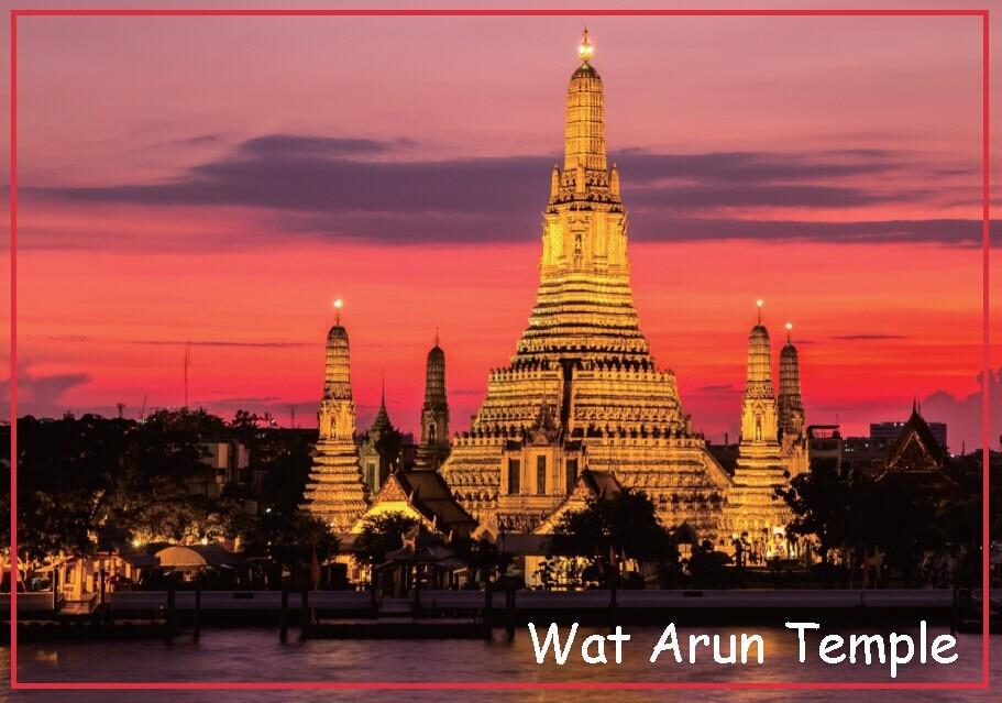 Ímãs rígidos do retângulo 78*54mm wat arun templo placa ímãs 20153 tailândia turista memorabilia presente