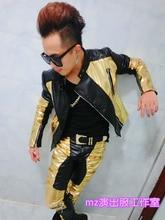 S-5xl Hot 2020 New Jacket Men Black Gold Hit Color Stitching Leather Jackets Mens Motorcycle Jacket Male Plus Size Hip Hop Coat