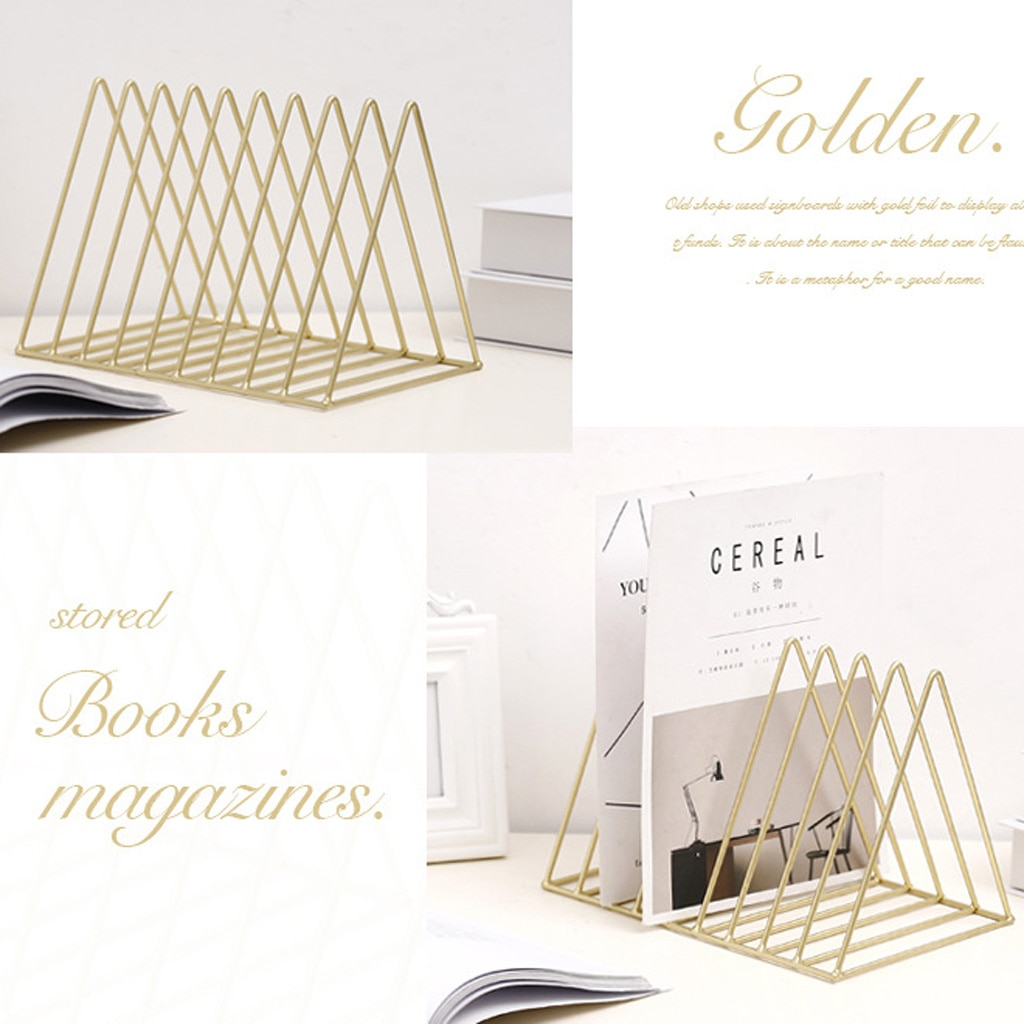 3pcs Nordic Minimalist Metal Desktop Bookshelf Holder For Home Office Newspaper Magazine Organizing