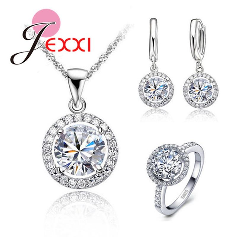 Exquisito collar de boda para mujer, pendiente, anillo de joyería, conjunto de joyería de cristal de circón de Plata de Ley 925