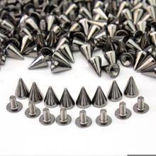 100x kolce stożek szpilki pistolet czarne aluminium 10mm Punk Rock miejsca nit dla Leathercraft bransoletka torba DIY odzież dekoracji