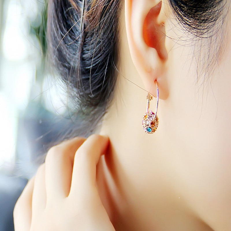 Fesyen bola kristal Austria anting-anting emas / perak berkualiti - Perhiasan fesyen - Foto 2