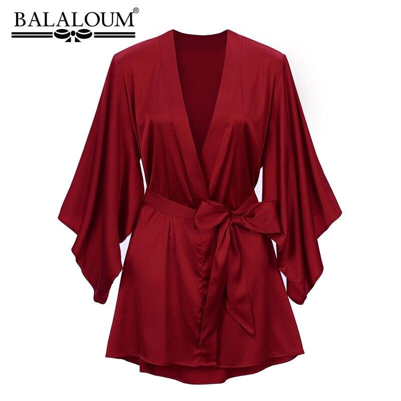 بلالين-ثوب نوم حريري أحمر مثير للنساء ، ثوب نوم كيمونو لحفلات الزفاف ، هدية عالية الجودة ، وصل حديثًا