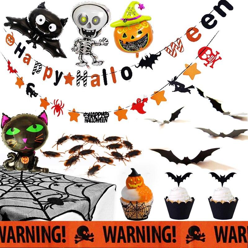 Halloween banner abóbora gato folha balões aranha jantar mesa capa pano jogo pano mau presságios halloween decoração de casa