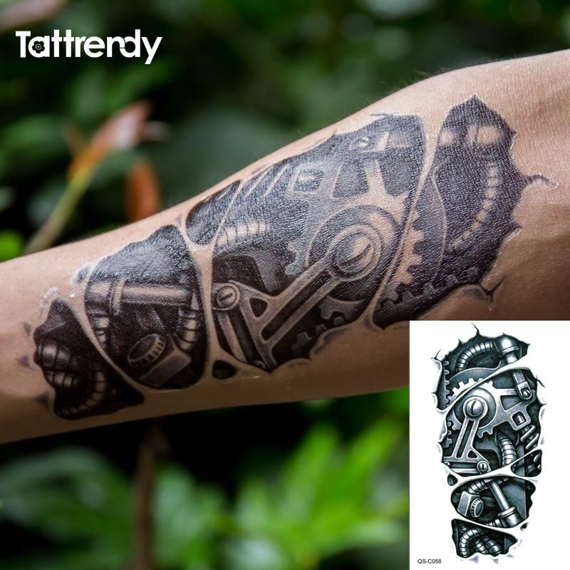 Временные татуировки 3D черный робот механические руки поддельные Переводные татуировки наклейки Горячие сексуальные крутые мужские спрей Водонепроницаемые Конструкции C058