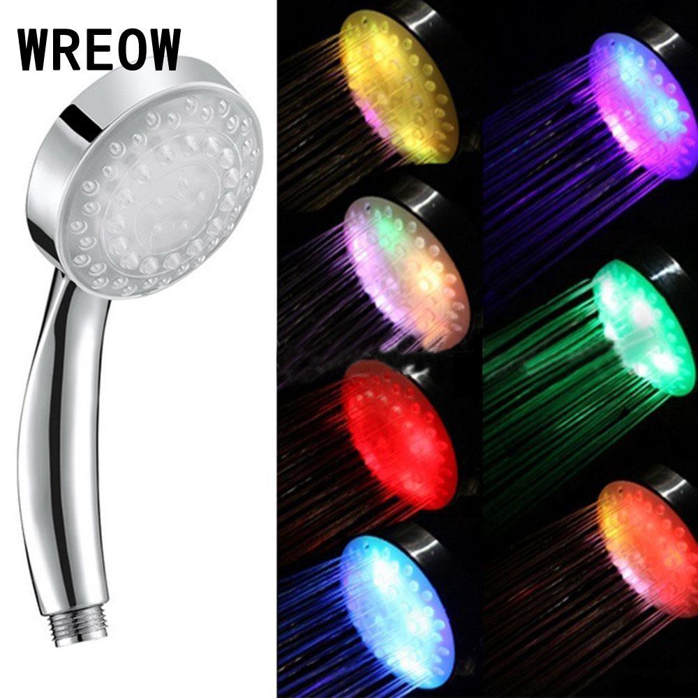 4 LED 7 Color Lights Rainfall Shower Romantic Automatic Magic Shower Head Handing Round Head Led Bathroom Water Shower Heads