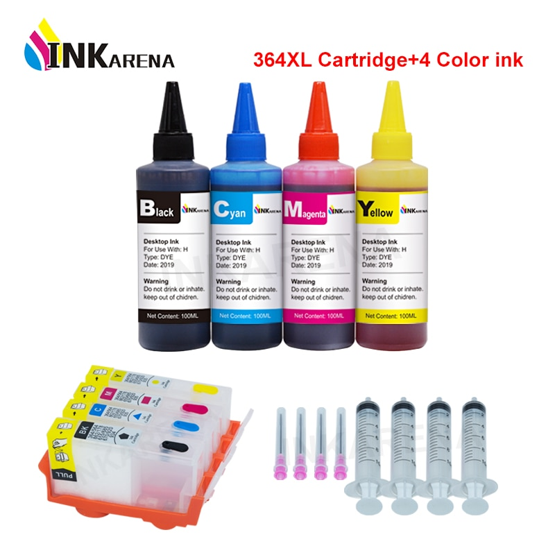 INKARENA 364XL reemplazo de cartucho de tinta para HP 364 recargable Photosmart Plus B209a B210a B109 7510, 6510 + 4 botella de tinta de impresora