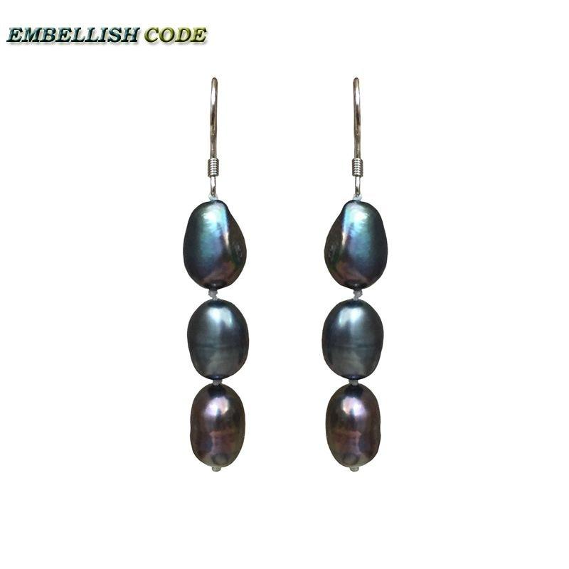 simple stely popular hook dangle earring long shape Cultured pearls dark blue peacock color Rainbow Lustrous for girl or women