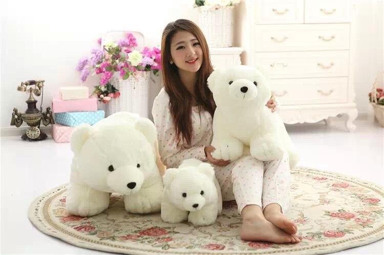 white standing polar bear plush toy soft throw pillow soft doll birthday gift t8745