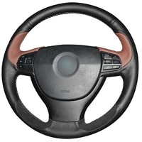 black coffee natural leather black suede car steering wheel cover for bmw f10 523li 525li 2009 730li 740li 750li
