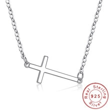 Dainty Real 925 Sterling Zilver Horizontale Sideways Cross Ketting Eenvoudige Kruisbeeld Neckless Celebrity Geïnspireerd Sieraden SN011
