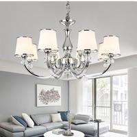 Хромированная хрустальная люстра, современный светильник для гостиной, спальни, хрустальная лампа E14, светодиодный осветительный прибор