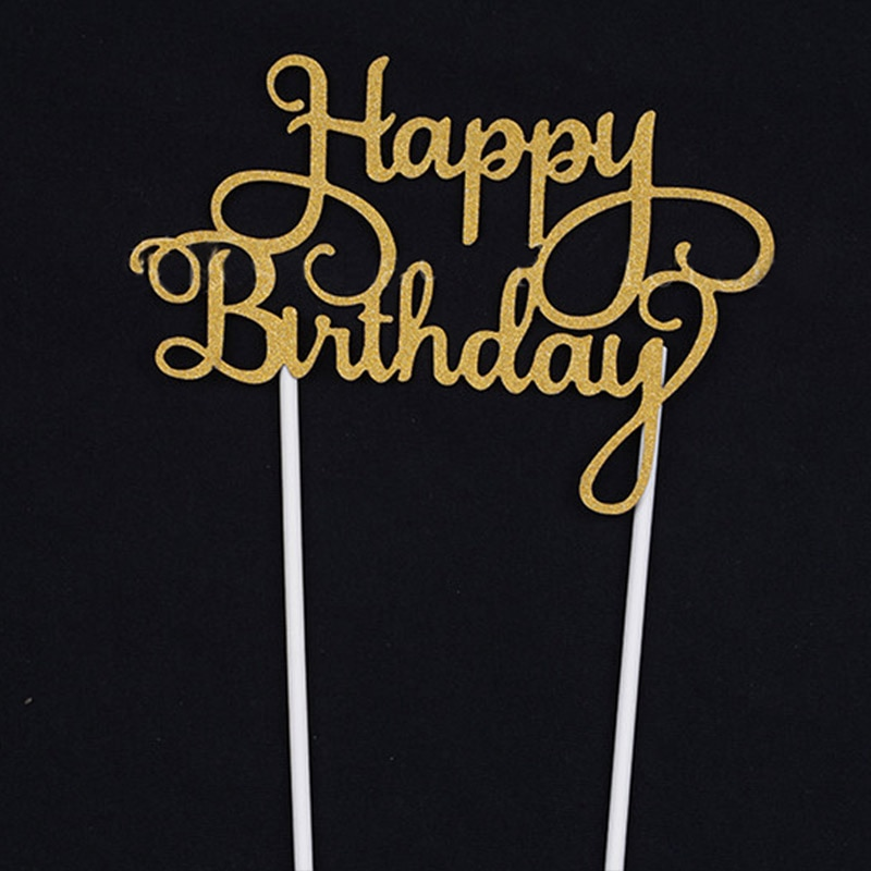 Alto nuevo Cupcake Cake Topper banderas de feliz cumpleaños doble palo para la familia cumpleaños adorno para pasteles de fiesta suministros UEJ